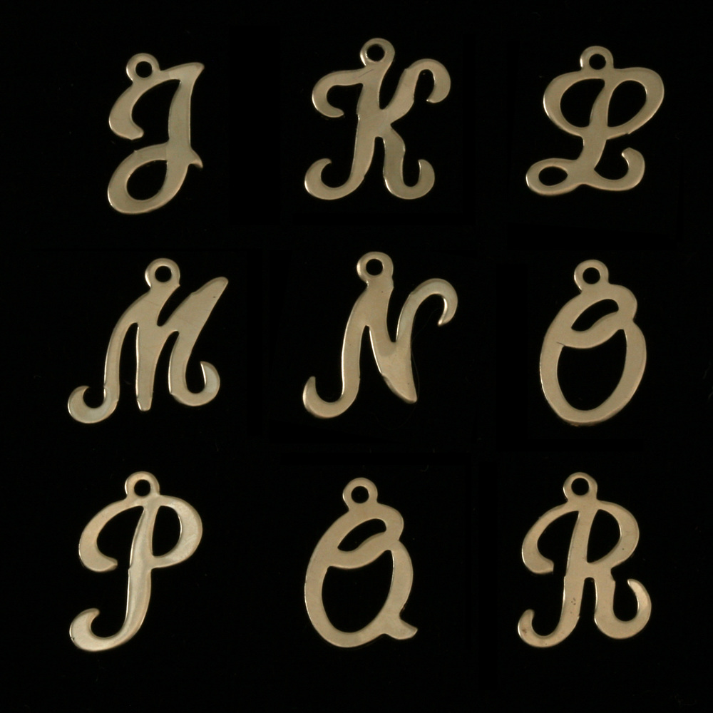 Charms & Solderable Accents Gold Filled Script Letter Charm Q, 24g