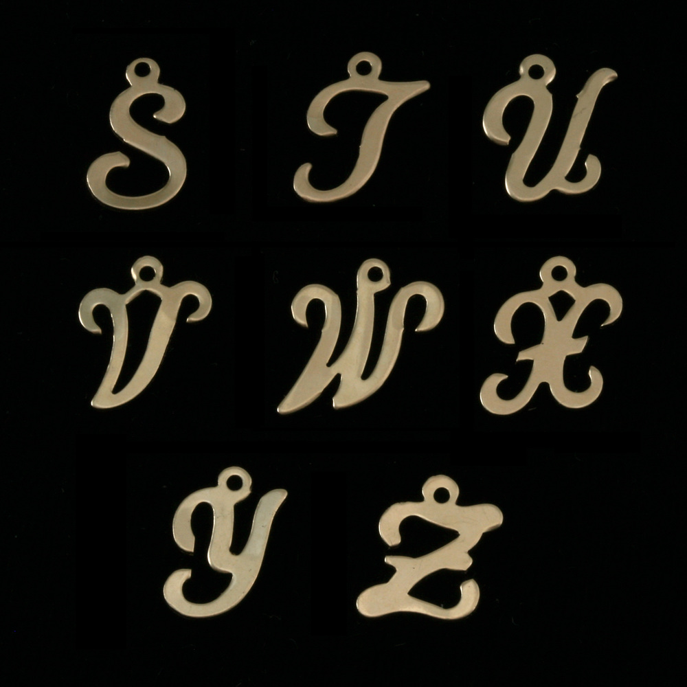 Charms & Solderable Accents Gold Filled Script Letter Charm T, 24g