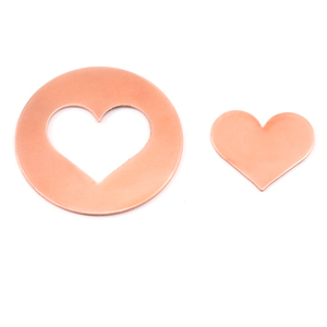 "Metal Stamping Blanks Copper Round, Disc, Circle with Medium Classic Heart Cutout, 32mm (1.25""), 24g, Pk of 5 Sets"