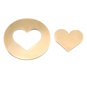 "Metal Stamping Blanks  Brass Circle with Medium Classic Heart cut out, 31.8mm (1.25""), 24g"