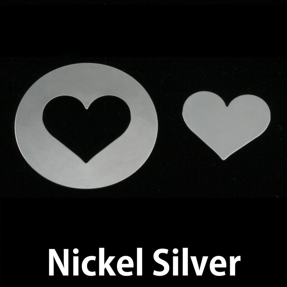 "Metal Stamping Blanks Nickel Silver Circle with Medium Classic Heart Cutout, 32mm (1.25""), 24g"