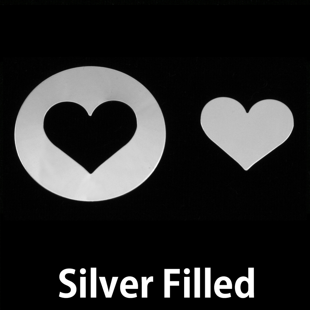 Metal Stamping Blanks Silver Filled Circle with Medium Classic Heart cut out, 24g