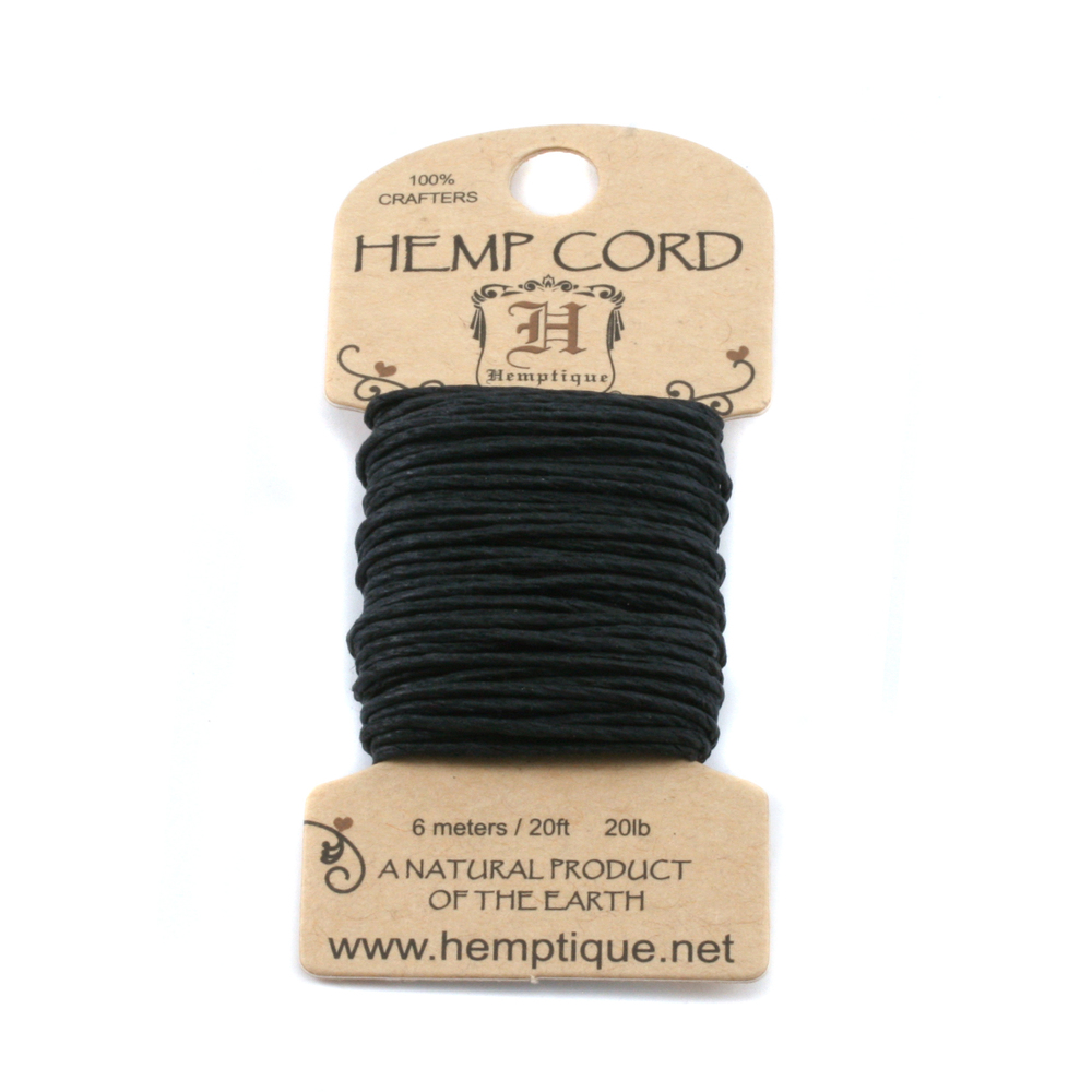 Rivets,  Findings & Stringing Hemp Cord- Mini Card Black