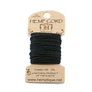 Stringing & Cording Hemp Cord- Mini Card Black
