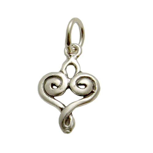 Charms & Solderable Accents Sterling Silver Swirly Heart Charm