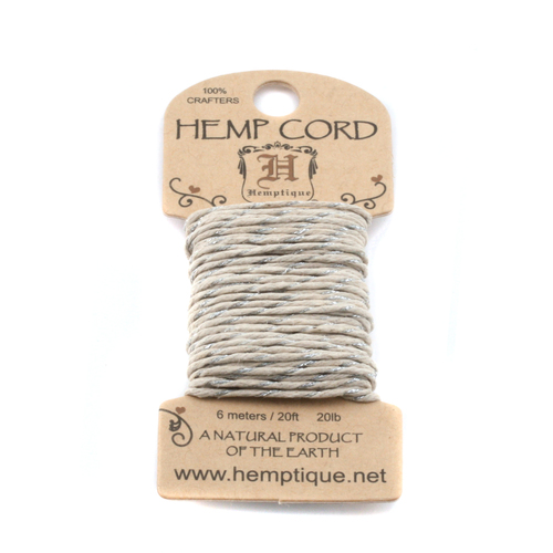 Stringing & Cording Hemp Cord- Mini Card Natural and Metallic Silver