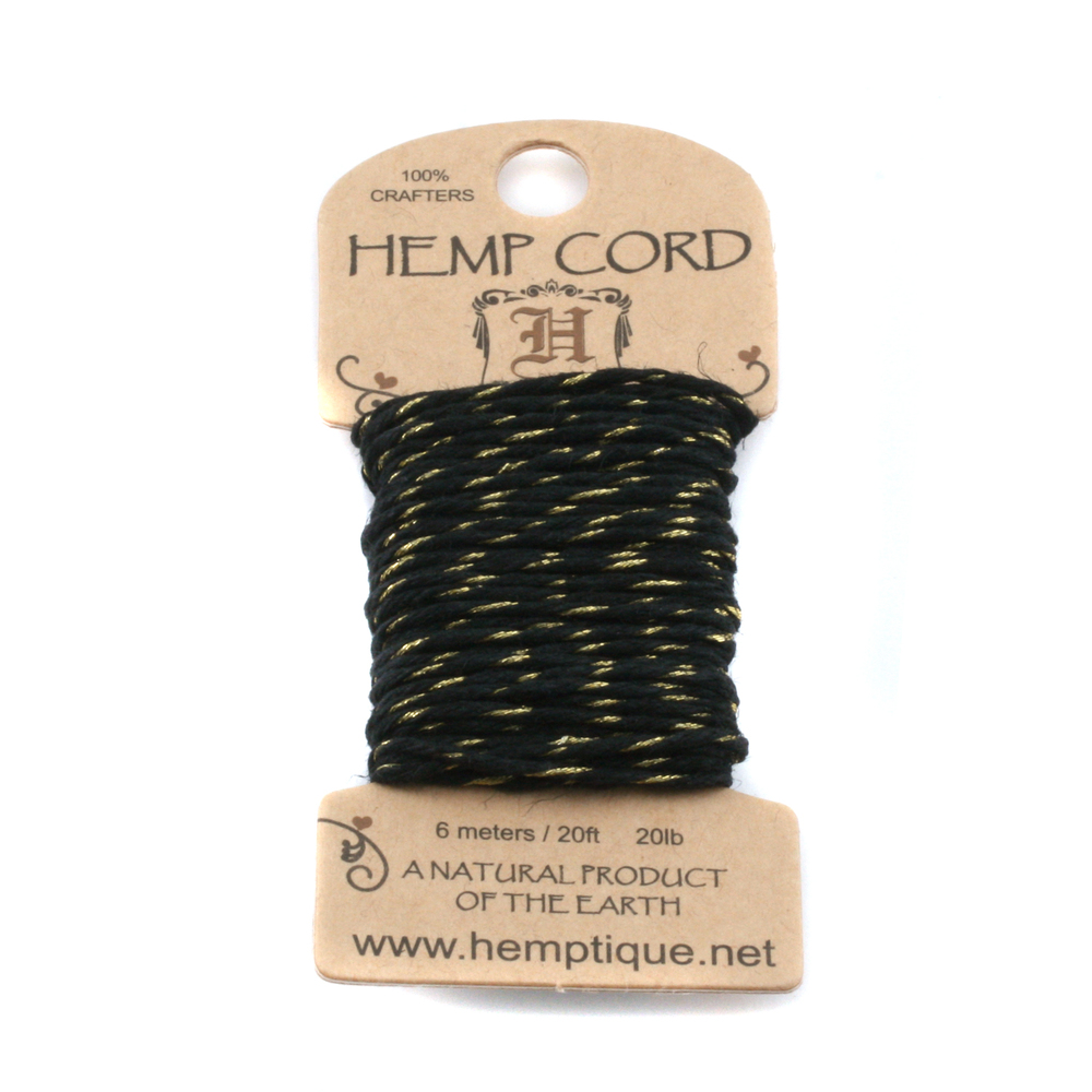 Rivets,  Findings & Stringing Hemp Cord- Mini Card Black and Metallic Gold