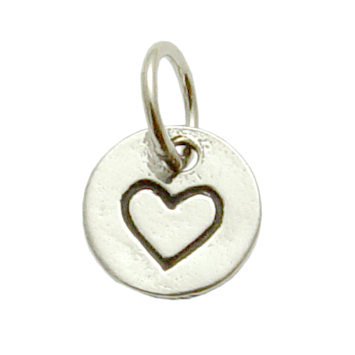 Charms & Solderable Accents Sterling Silver Small Heart in Circle Charm