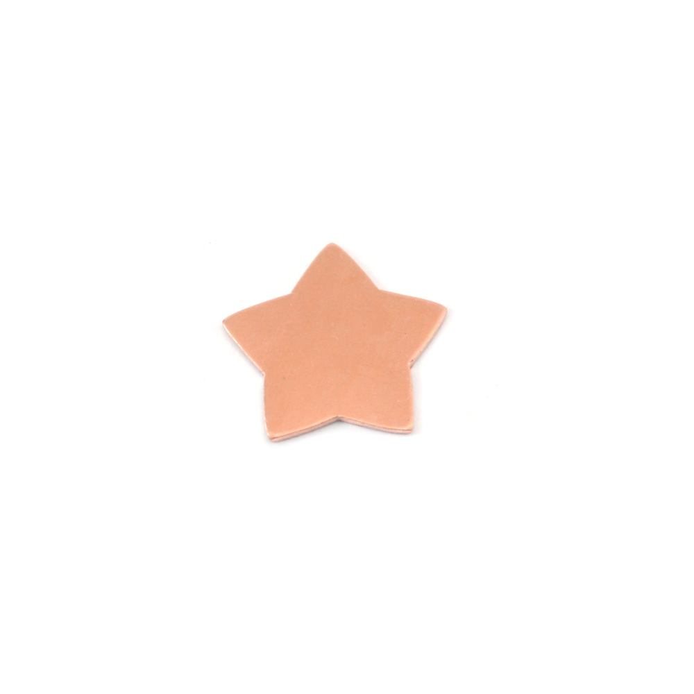 "Metal Stamping Blanks Copper Rounded Star, 15mm (.60""), 24g, Pk of 5"