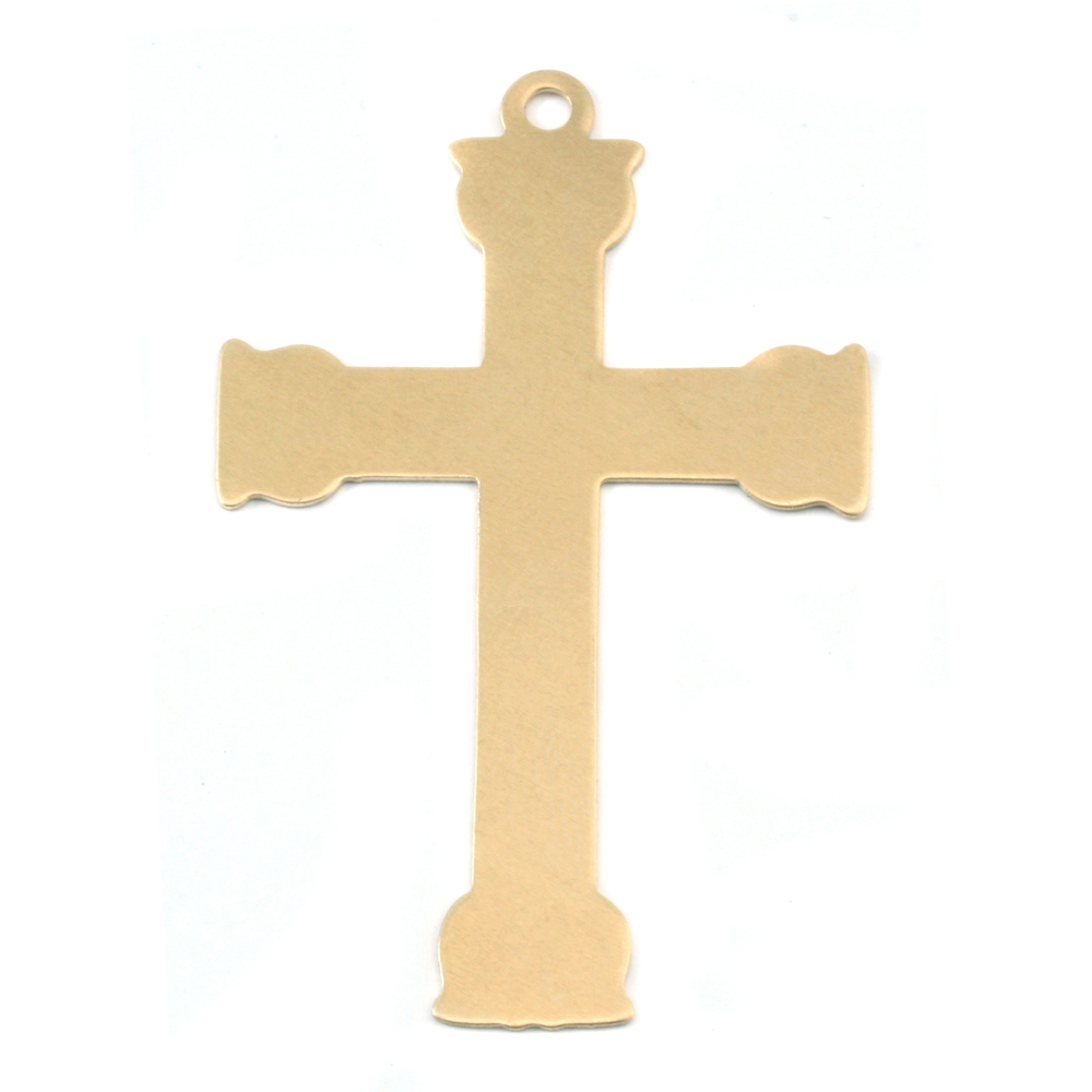 Metal Stamping Blanks Brass Large Fancy Cross, 24g