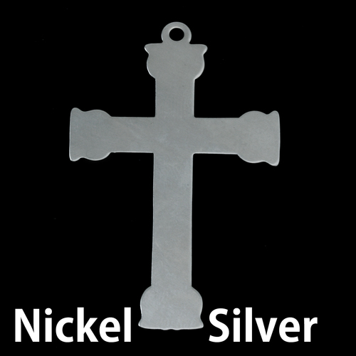Metal Stamping Blanks Nickel Silver Large Fancy Cross, 24g