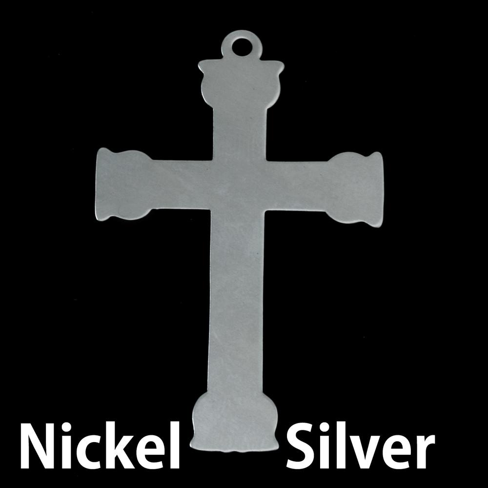 Metal Stamping Blanks Nickel Silver Large Fancy Cross, 24g