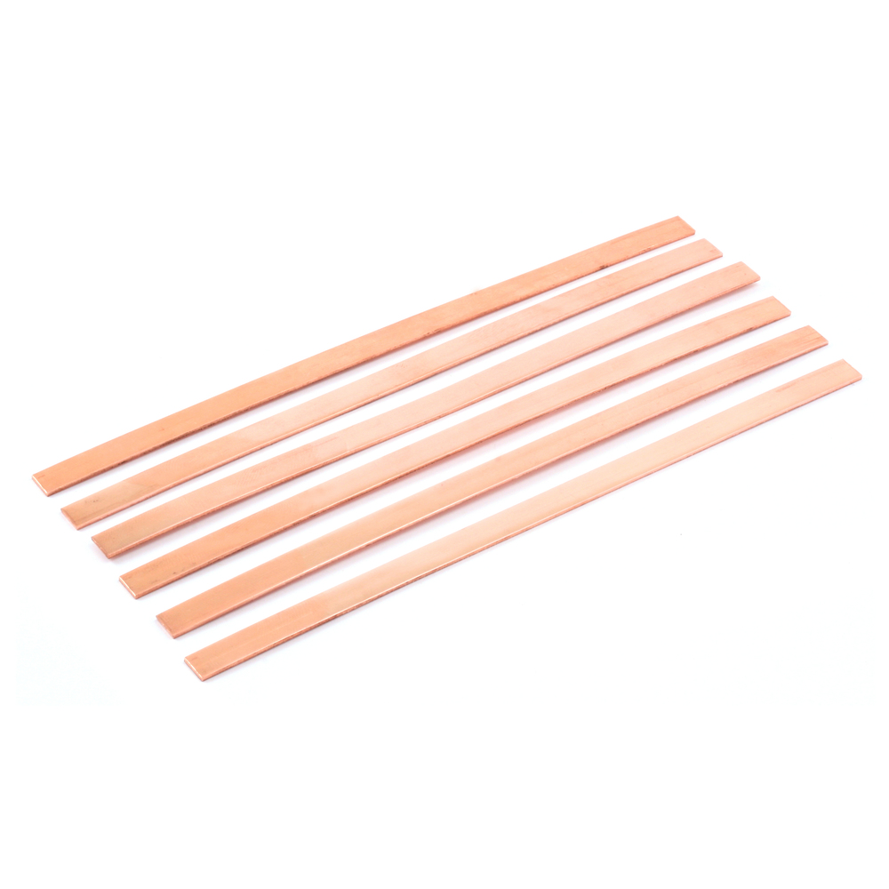 "Metal Stamping Blanks Copper Bracelet Blanks, 152mm (6"") x 6.4mm (.25""), 18g, Pack of 6"