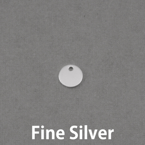 "Metal Stamping Blanks Fine Silver Circle with Hole, 8mm (.31""), 20g"