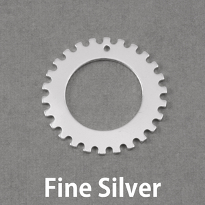 "Metal Stamping Blanks Fine Silver Notched Washer, 25mm (1"") with 16mm (.63"") ID, 20g"