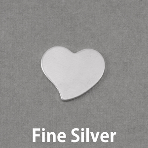 """Metal Stamping Blanks Fine Silver Stylized Heart, 15mm (.59"""") x 14mm (.55""""), 20g"""