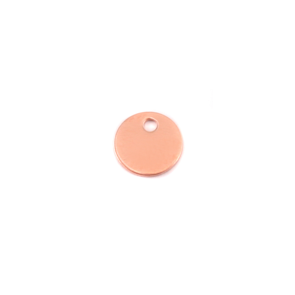 "Metal Stamping Blanks Copper Circle with hole, 8mm (.25""), 24g"