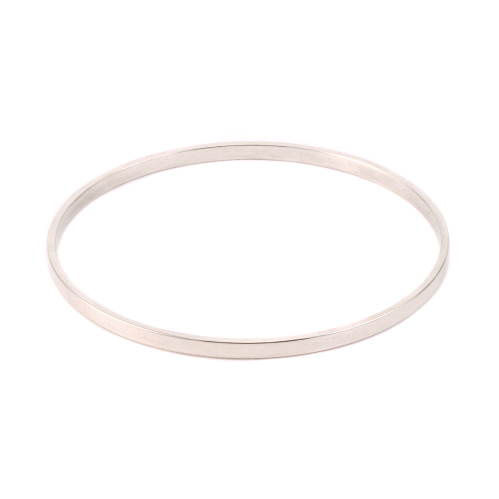 Metal Stamping Blanks Silver Plated Flat Bangle Bracelet, 1/8""