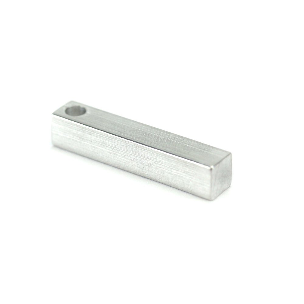 "Metal Stamping Blanks Aluminum Four Sided Rectangle Bar, 31.8mm (1.25"") x 6.4mm (.25""), with Hole"