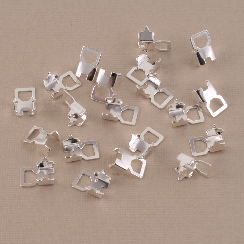 Rivets,  Findings & Stringing Rhodium Cup Chain Connectors for 4mm Crystal, 10 pairs