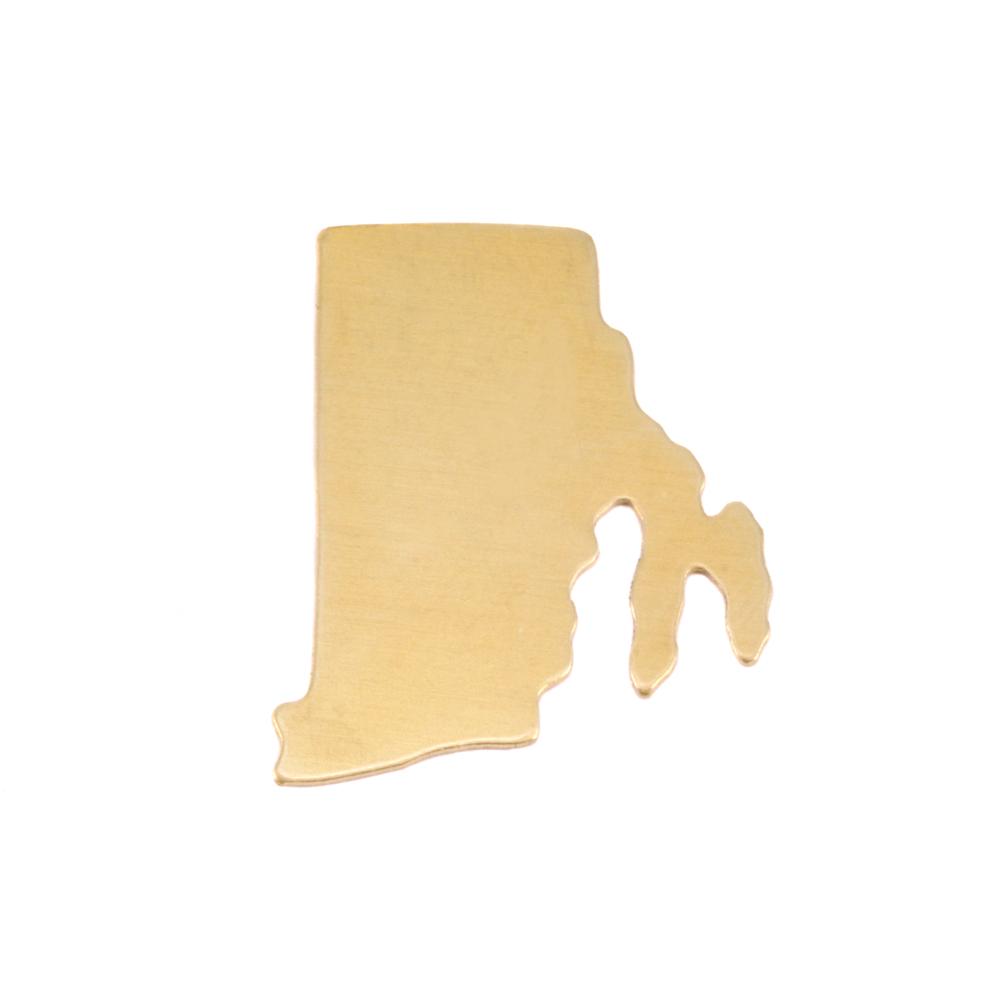 Metal Stamping Blanks Brass Rhode Island State Blank, 24g