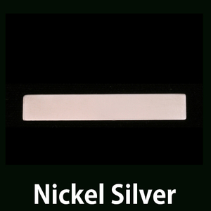 "Metal Stamping Blanks Nickel Silver Rectangle, 31.8mm (1.25"") x 6.4mm (.25""), 24g"
