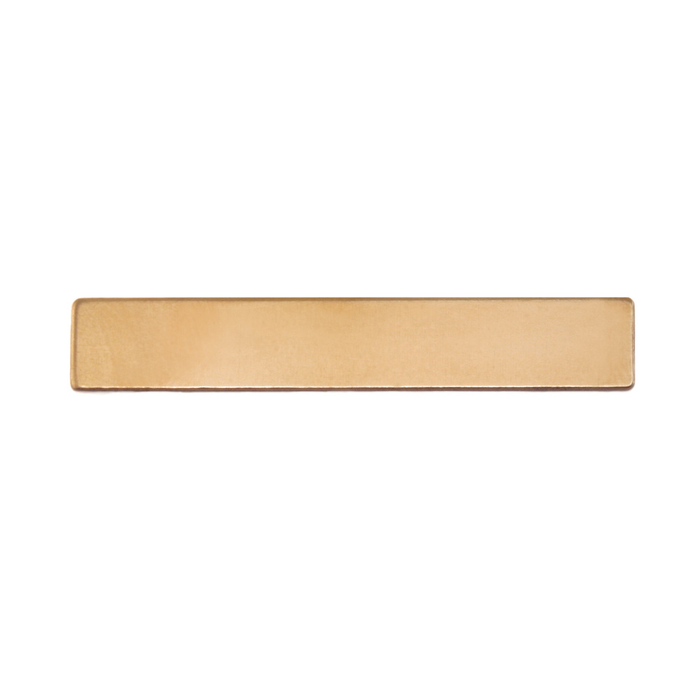 "Metal Stamping Blanks Brass Rectangle, 38mm (1.5"") x 6.35mm (.25""), 24g"