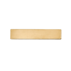 "Metal Stamping Blanks Brass Rectangle, 31.8mm (1.25"") x 6.4mm (.25""), 24g"