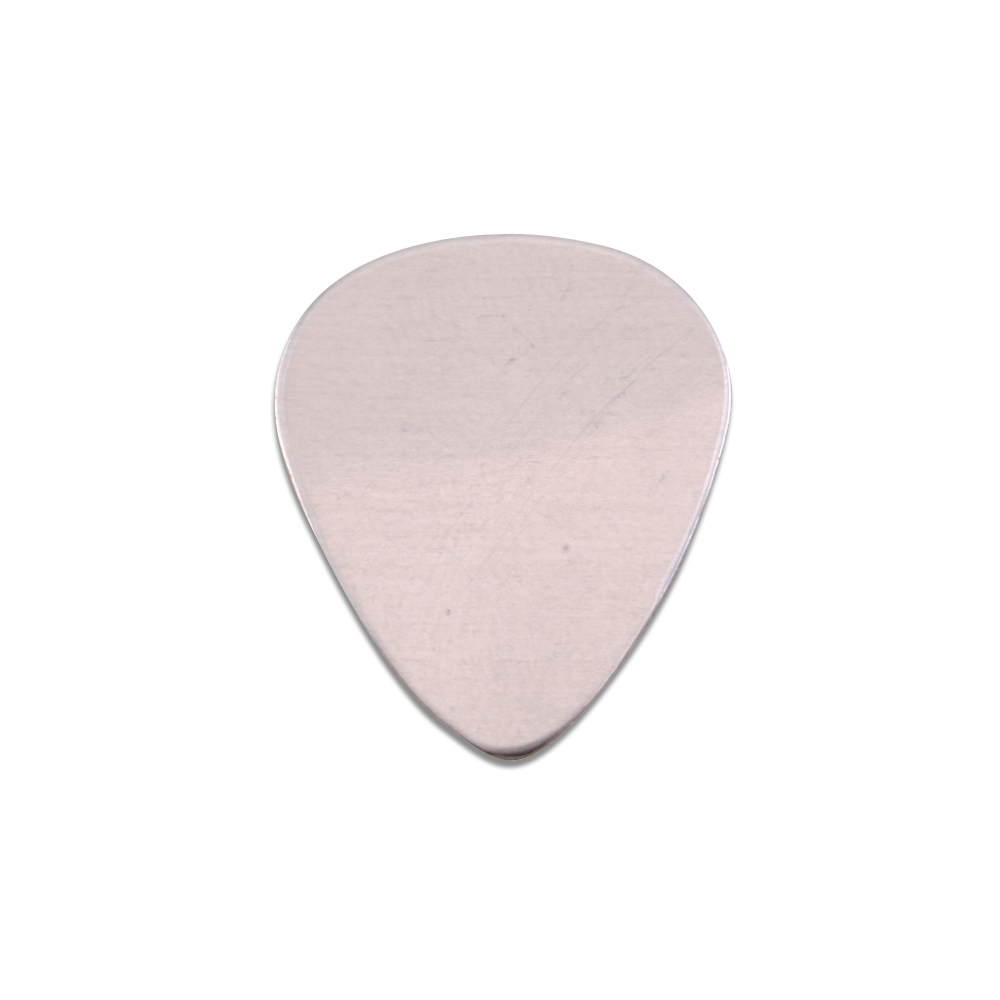 "Metal Stamping Blanks Aluminum ""Guitar Pick"", 20mm (.79"") x 17mm (.67""), 18g, Pack of 5"
