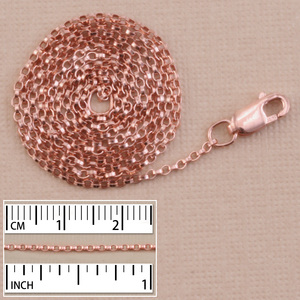 Chain & Jump Rings Rose Gold Filled 1.3mm Flat Rolo Chain, 16""