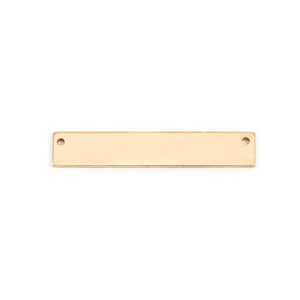 "Metal Stamping Blanks Gold Filled Rectangle Bar with Holes, 30.5mm (1.20"") x 5mm (.20""), 24g"