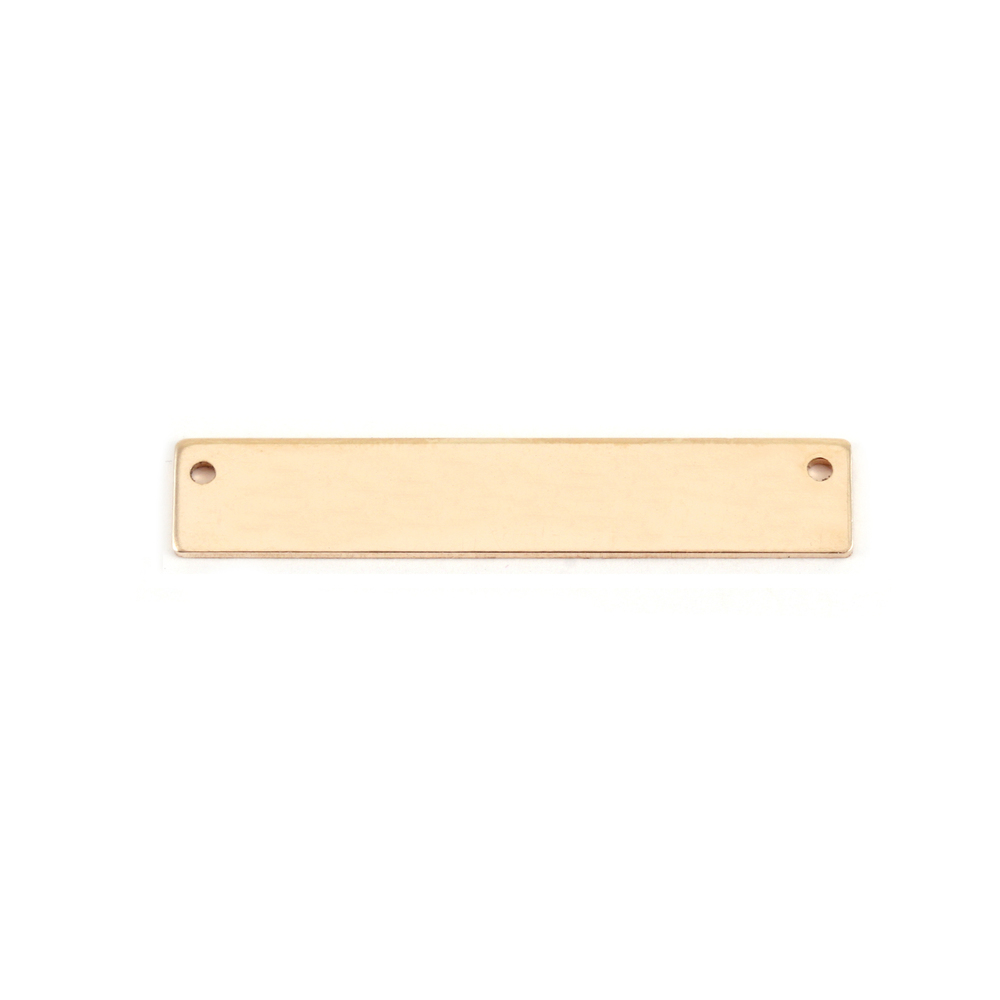 """Metal Stamping Blanks Gold Filled Rectangle Bar with Holes, 30.5mm (1.20"""") x 5mm (.20""""), 20g"""