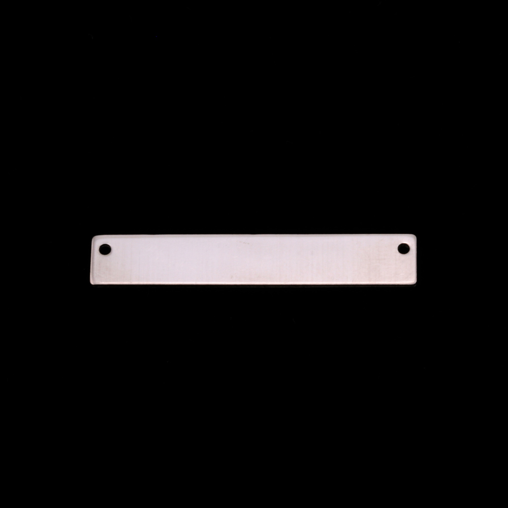 "Metal Stamping Blanks Sterling Silver Rectangle Bar with Holes, 30.5mm (1.20"") x 5mm (.20""), 20g"