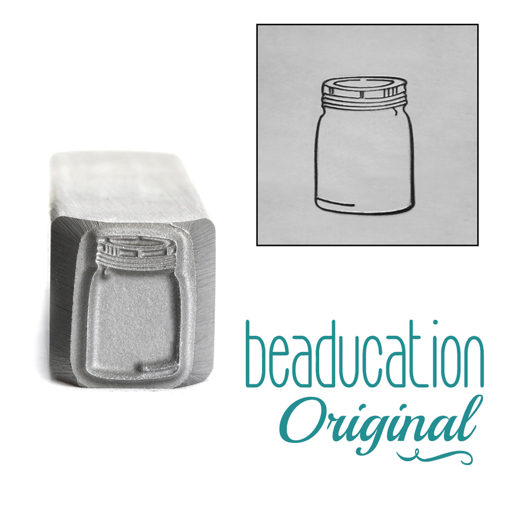 Metal Stamping Tools Mason Jar Metal Design Stamp, 11.5mm - Beaducation Original