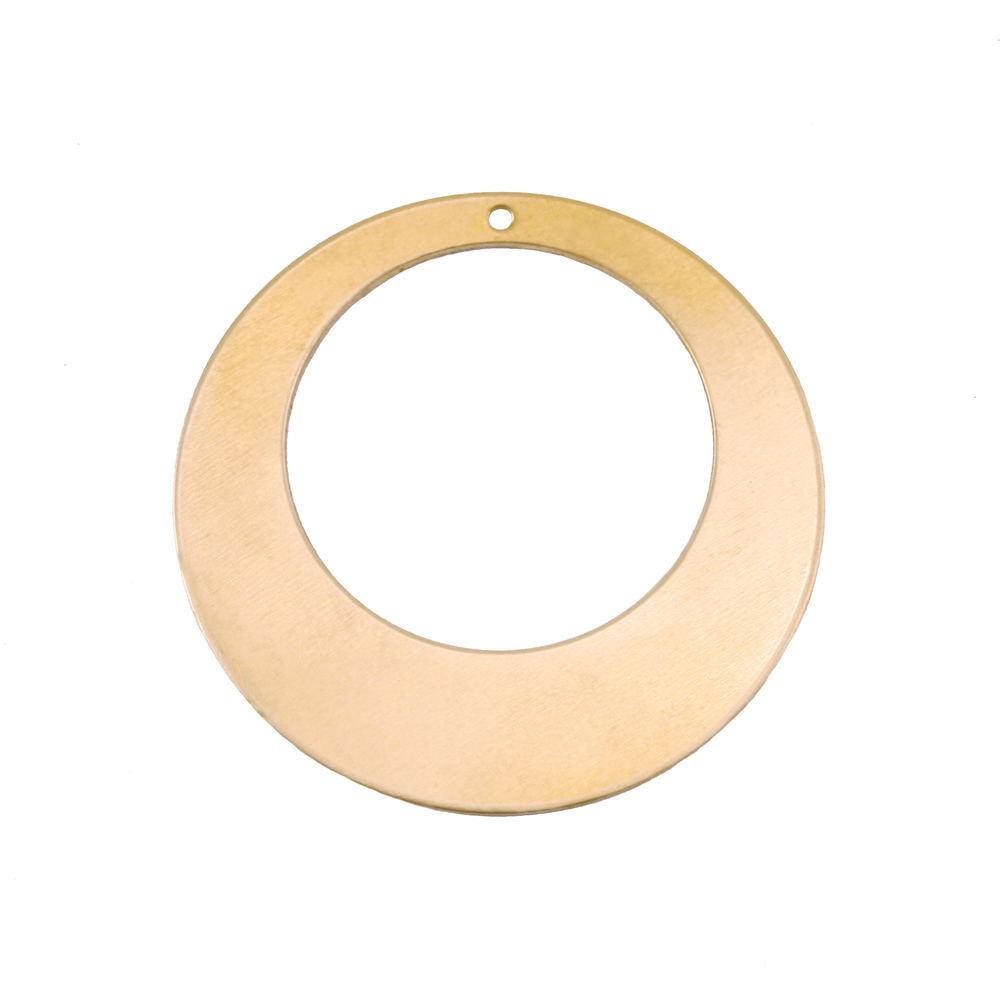 "Metal Stamping Blanks Brass Off Centered Washer with Hole, 32mm (1.25"") with 20mm (.79"") ID, 24g, Pk of 5"