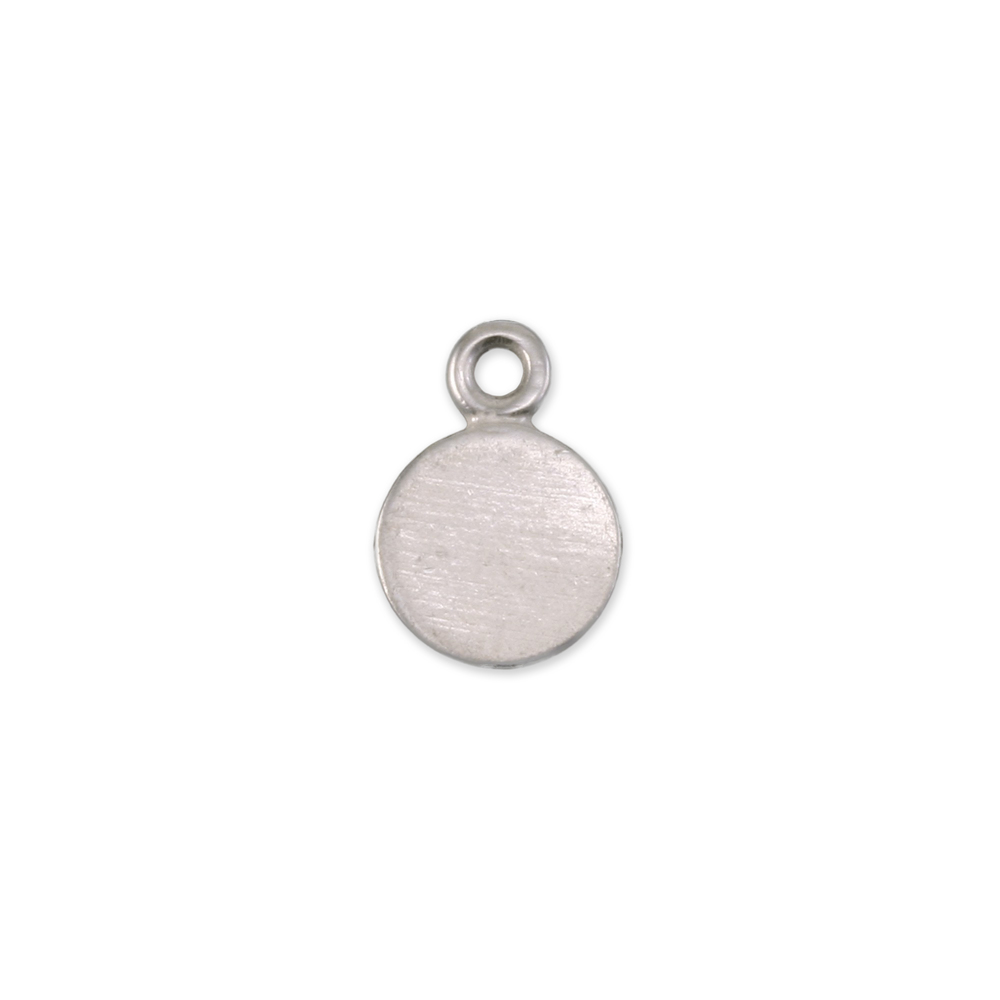 "Metal Stamping Blanks Sterling Silver Round, Disc, Circle with Top Loop, 6.7mm (.26""), 18g, Pack of 5"