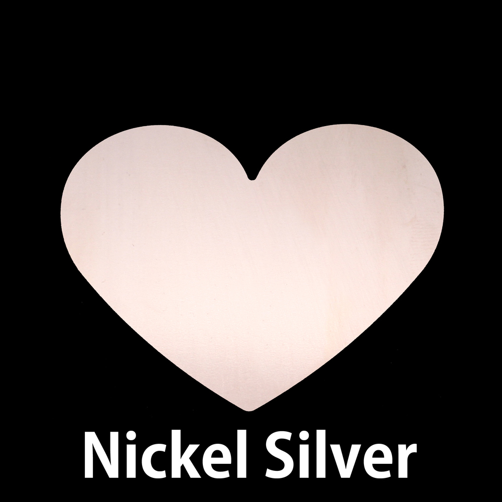 "Metal Stamping Blanks Nickel Silver Classic Heart, 61mm (2.4"") x 53.7mm (2.11""), 24g"