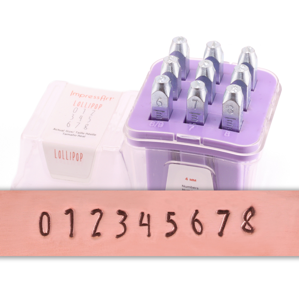 Metal Stamping Tools ImpressArt Lollipop Numbers Stamp Set 4mm