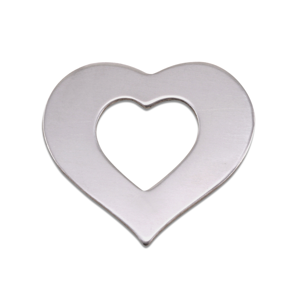 "Metal Stamping Blanks Aluminum Heart Washer, 24mm (.94"") x 22mm (.87""), 18g, Pack of 5"