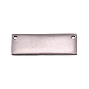 "Metal Stamping Blanks Silver Plated Pewter Rectangle Bar with Holes, 37.7mm (1.48"") x 12.3mm (.48""), 15g"