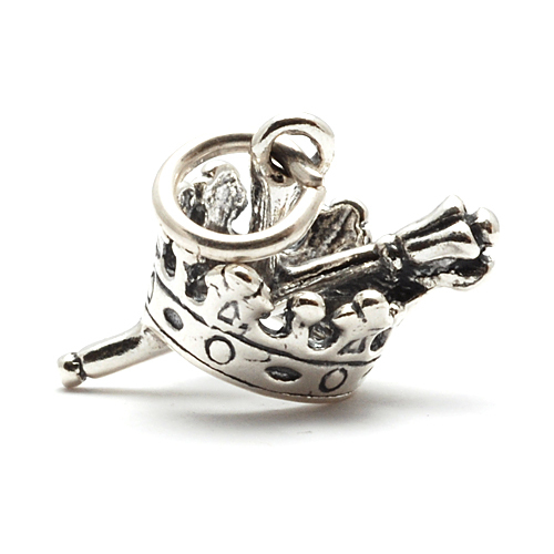 Charms & Solderable Accents Sterling Silver Crown & Scepter Charm
