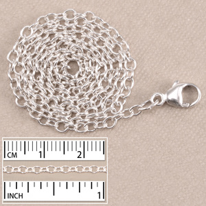 Chain & Jump Rings Sterling Silver Small Round Cable Chain,16""