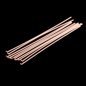 "Rivets,  Findings & Stringing Rose Gold Filled Head Pins 1 1/2"" (38mm), 24 gauge pack of 10"