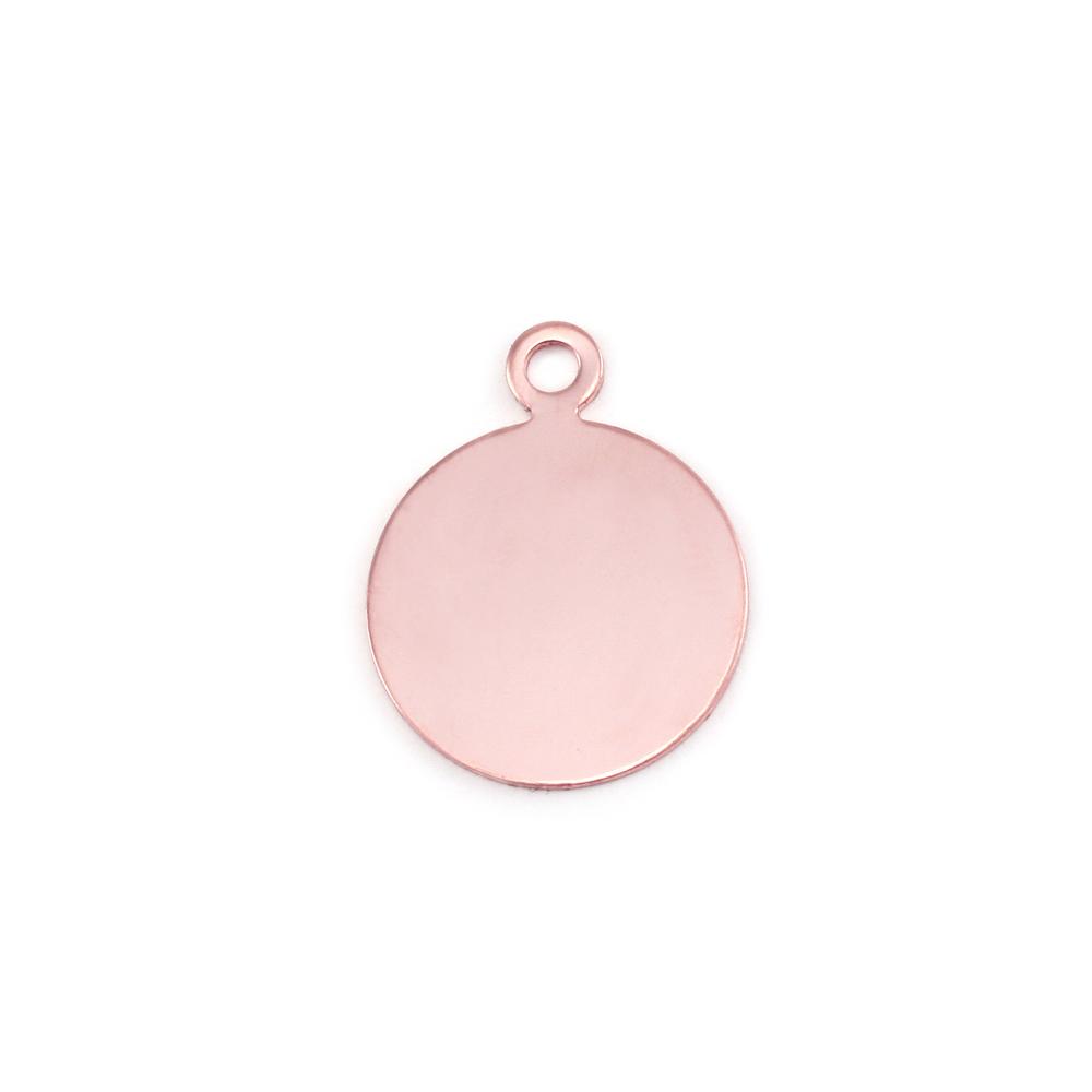 "Metal Stamping Blanks Rose Gold Filled Circle with Top Loop, 12mm (.47""), 24g"