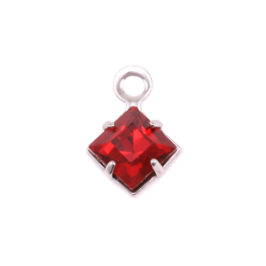 Charms & Solderable Accents Swarovski Xilion Square Fancy Crystal (Garnet - JANUARY)