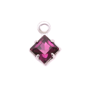 Charms & Solderable Accents Swarovski Xilion Square Fancy Crystal (Amethyst - FEBRUARY), Pack of 4