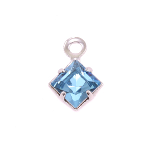 Charms & Solderable Accents Swarovski Xilion Square Crystal (Aquamarine - MARCH), Pack of 4  *DISCONTINUED