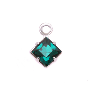 Charms & Solderable Accents Swarovski Xilion Square Fancy Crystal (Emerald - MAY), Pack of 4
