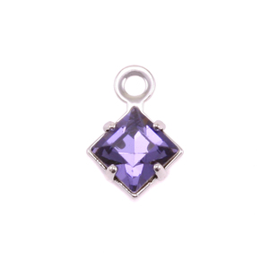 Charms & Solderable Accents Swarovski Xilion Square Crystal (Alexandrite - JUNE), Pack of 4  *DISCONTINUED