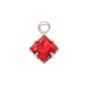 Charms & Solderable Accents Swarovski Xilion Square Crystal (Ruby - JULY), Pack of 4  *DISCONTINUED